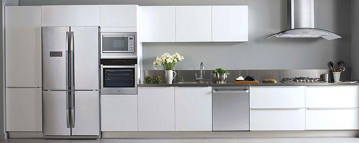 Kitchen, white + stainless steel