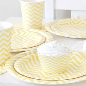 Greenmunch - Paper Cups - 9oz –- Chevron Yellow, $7.00 (http://www.greenmunch.ca/paper-dinnerware/paper-cups/paper-cups-9oz-chevron-yellow/)