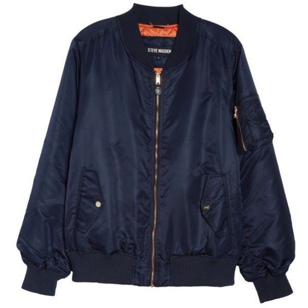 Plus Size Women's Steve Madden Flight Side Zip Bomber Jacket ($52) ❤ liked on Polyvore featuring plus size women's fashion, plus size clothing, plus size outerwear, plus size jackets, navy, plus size, women's plus size jackets, zip bomber jacket, flight jacket and retro jackets