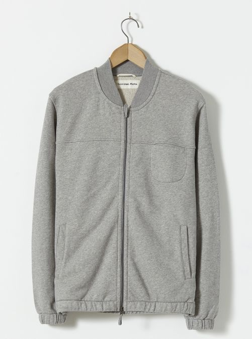 Track Jacket In Grey Marl Loopback
