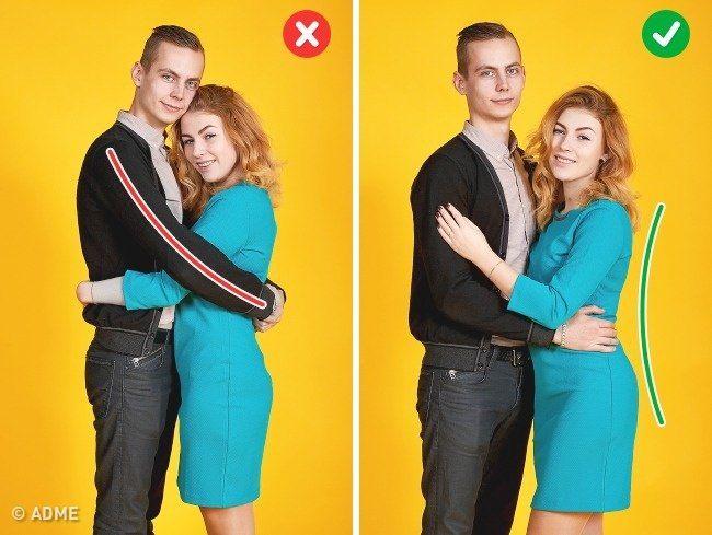 Классическая поза — «Объятия» Фото1.  Старайтесь не закрывать друг друга руками, это делает ненужный акцент на руках, а не на фигурах. Чуть разверните корпус к камере и обязательно следите за осанкой, не опускайте низко голову.
