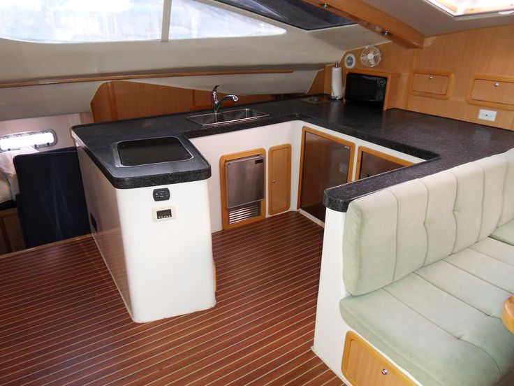 17 best images about catamaran galleys or yacht interiors for Large galley kitchen designs