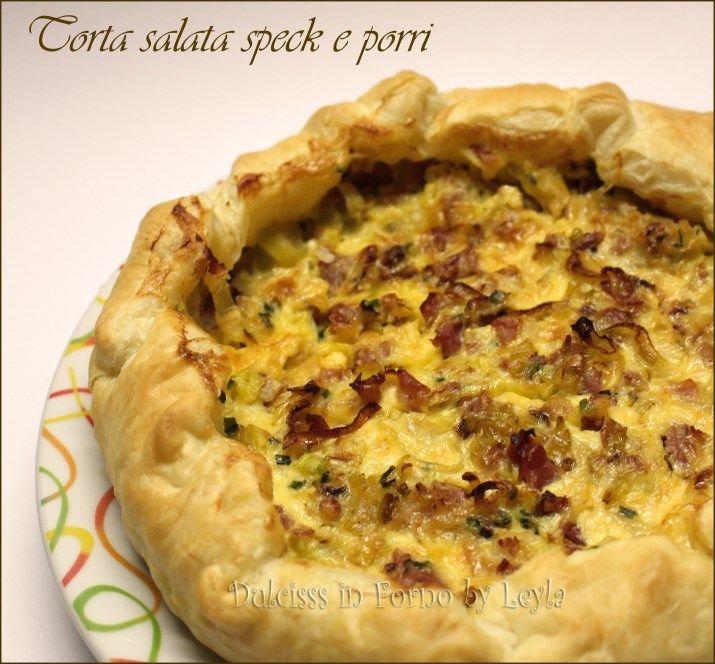Torta salata speck e porri, ricetta veloce e delicata