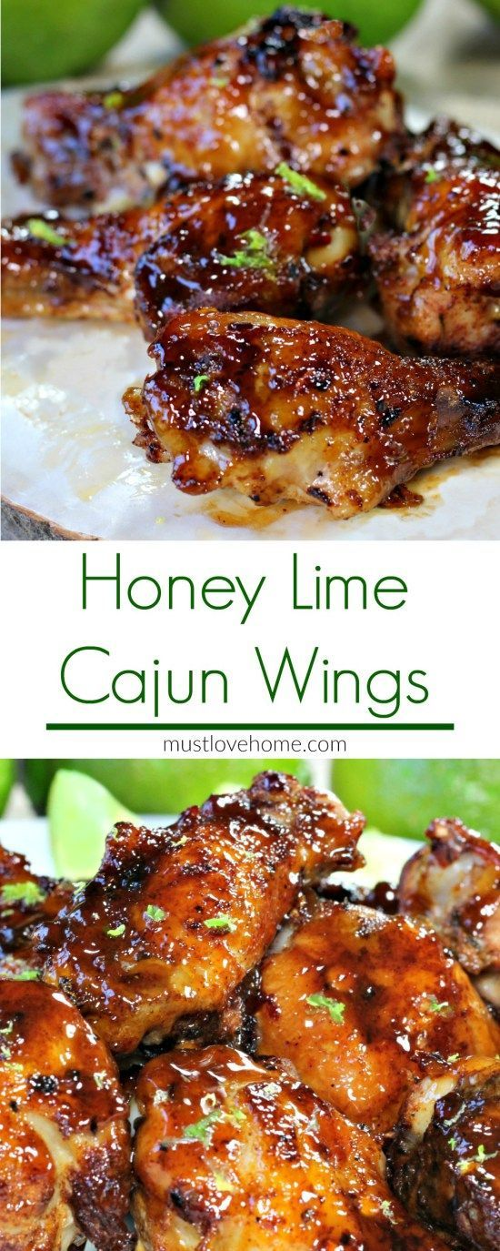 Cajun Honey Lime Chicken Wings Recipe | Made with barbecue sauce, honey and fresh lime.