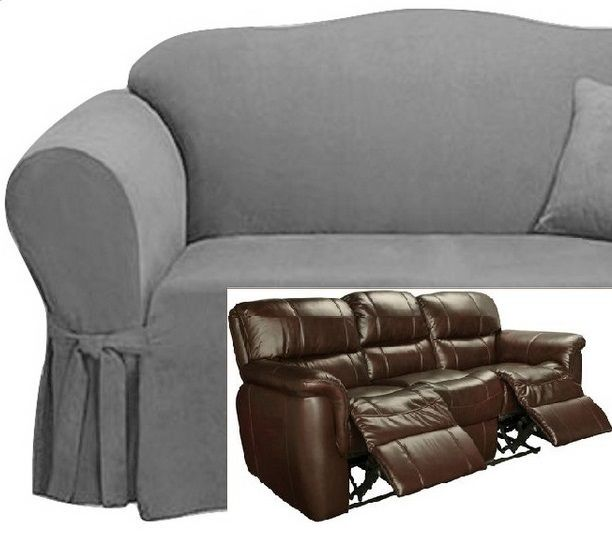 Dual Reclining Sofa Slipcover Suede Grey Surefit Recliner Couch
