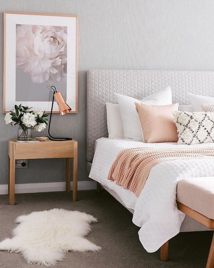 A Gray Living Room And Rose Pink Powder Pink Powder Pink Room Decor Associate The Pink Pe Simple Bedroom Room Decor Bedroom Color Schemes