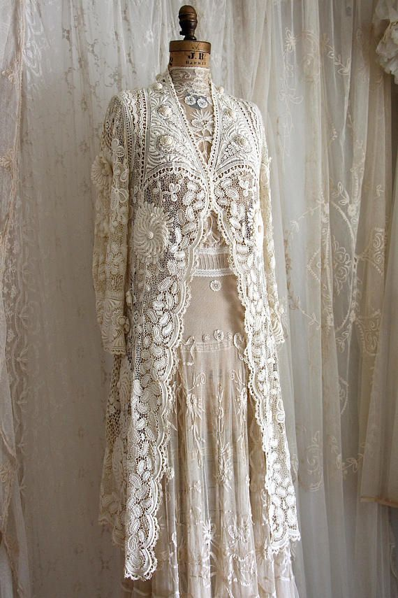 Exquisite Antique Irish Lace Wedding Coat / Museum / Crochet Lace / Bridal / Antique Dress /Ivory / Size Sm / Med