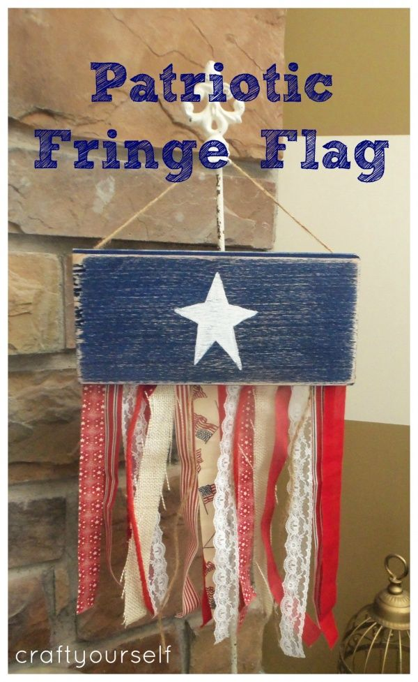 There are so many creative ideas I see all over the web!  I also love combining ideas to make it my own.  For this patriotic fringe flag, I found this idea at optimistic mommy  and this idea on close to your heart etsy shop  and  made it into one.  I loved both of them but thought they would work …