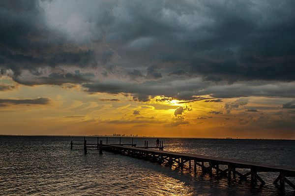 A Sunset Over Tampa Bay As Seen From Bahia Beach In Ruskin Florida Looking Toward St Petersburg On The Horizon