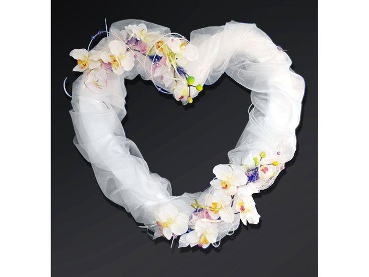 Świat-dekoracji.pl: Serce z kwiatami i organzą, biały, 50cm, 1szt.OPIS...