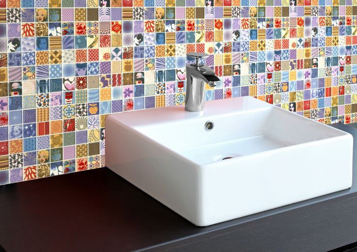 Zany - A wild, colourful, and crazy design with all sorts of pictures in each little tile. For when you want something different. Comes in Mosaic at 25x25x8mm, or Sheets of 250x250mm