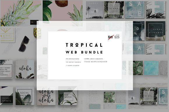 Tropical Social Web Bundle by Aloha Philly on @creativemarket
