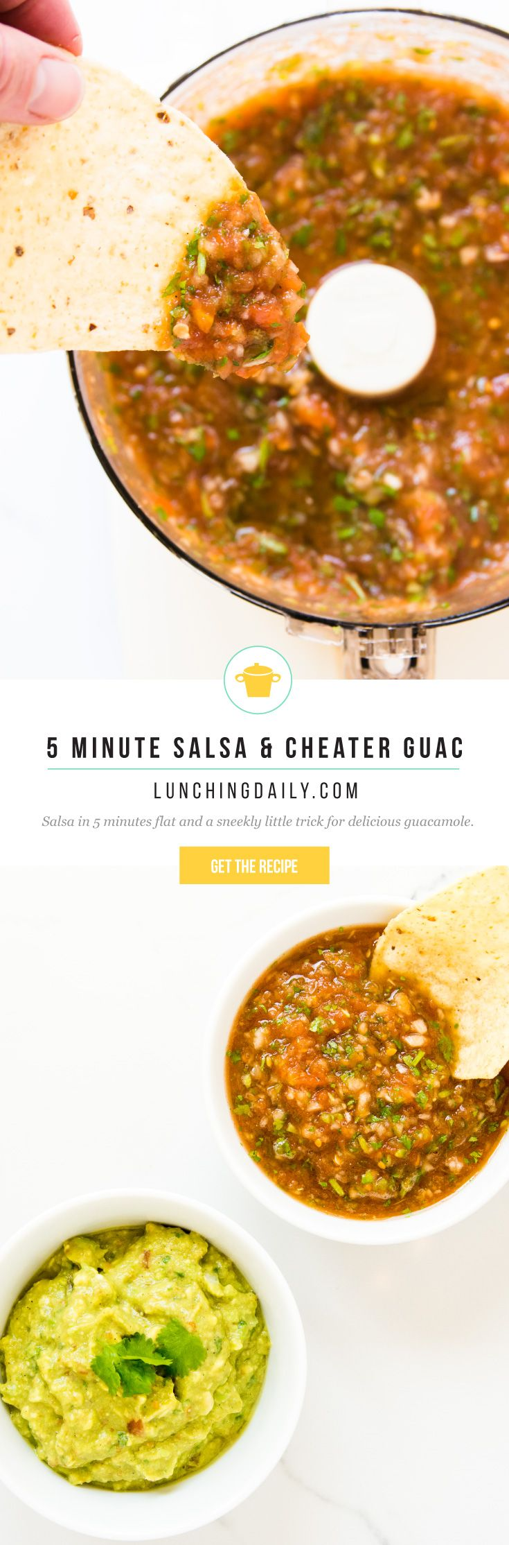 5 Minute Salsa and Cheater Guacamole - this easy salsa and guacamole recipe can be whipped up in no time using a handful of ingredients and a food processor. So delicious, fresh and easy, you'll never go back to store bought again.