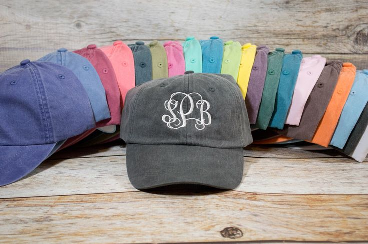 Monogram Hat, Custom Embroidered Monogram Hat, Embroidered Hat, Summer Hat, Personalized Hat, Custom Hat, Monogrammed Hat, Distressed Hat by TheCraftyStitches on Etsy https://www.etsy.com/listing/239310283/monogram-hat-custom-embroidered-monogram