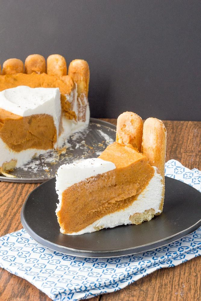 Pumpkin charlotte is a creamy, no-bake dessert that everyone will love! It looks impressive but is simple to create.