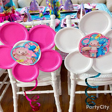 """Whip up a flowery fun chair décor DIY faster than you can say """"all better!"""" Click for deets on this Doc McStuffins party idea!"""