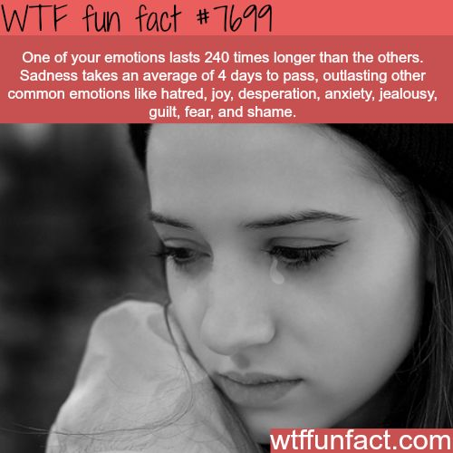 Sadness lasts longer than other emotions - WTF FUN FACTS