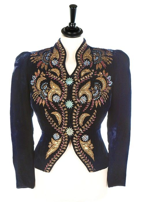 Elsa Schiaparelli A/W 1937 Couture midnight-blue velvet evening jacket with embroidery.