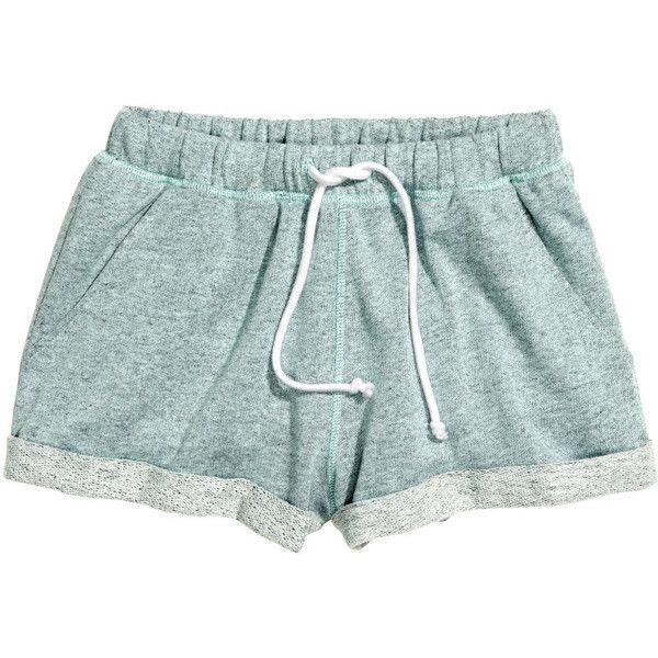H&M Sweatshirt shorts ($6.26) ❤ liked on Polyvore featuring shorts, bottoms, shorts/skirts, mint green, mint green shorts, h&m, mint shorts and h&m shorts