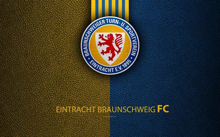 Download wallpapers Eintracht Braunschweig FC, 4K, leather texture, German football club, Eintracht logo, Braunschweig, Germany, Bundesliga 2, second division, football