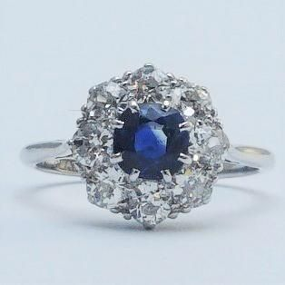 Sapphire And Diamond Cluster White Gold And Platinum Ring