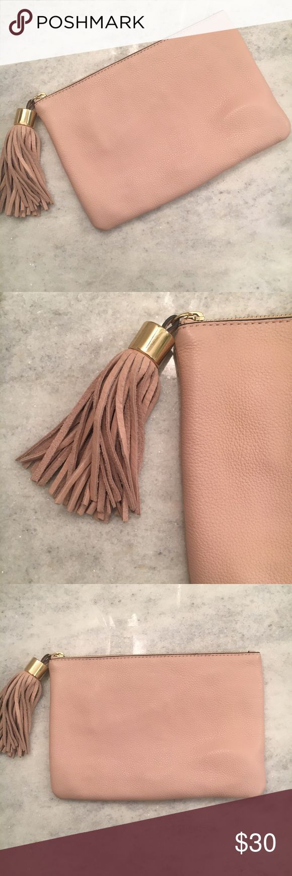 """{gili} Blush Clutch with Tassel Accent Gorgeous genuine leather clutch with tassel accent by GILI. Used only a handful of times. In EUC! Approximate measurements are 9.5"""" x 7"""". Blush color is a must and goes with everything! Gold tone hardware **I ship daily** GILI Bags Clutches & Wristlets"""