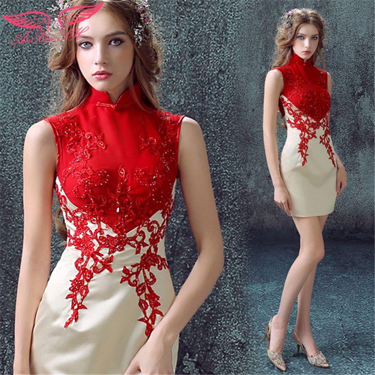AnXin SH Çin gelin Kokteyl Elbiseleri kırmızı Kokteyl Elbiseleri dantel kısa gelinlik cheongsam elbise yeni 7686Q(China (Mainland))