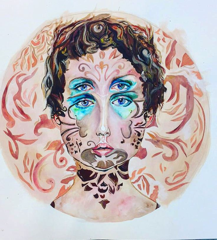 My first larger piece, inspired by the artist Alex Garant. I completed this piece in a mixture of watercolour and acrylic paints.