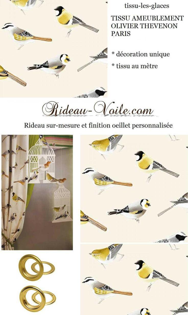 rideau d co tropical oiseaux tissu motif d coration. Black Bedroom Furniture Sets. Home Design Ideas