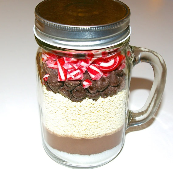 Mint Hot Chocolate Mix in Mason Jar Mug- Hot Cocoa, Peppermint Candy ...