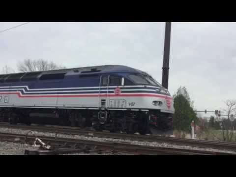 VRE V67 commuter train just left Manassas, Va. station 4/5/17 by Kathy Simon
