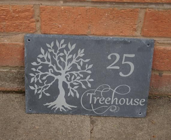 Tree Of Life Slate House Sign Slate House Sign Personalised