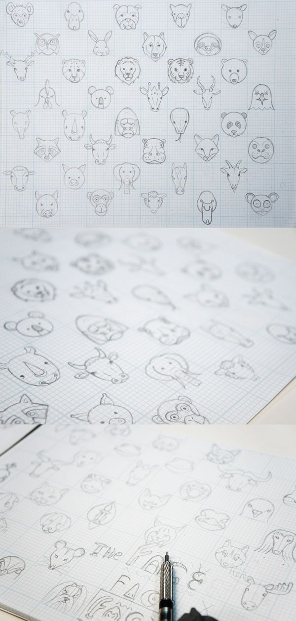 Face the Animals: Animal Line Icon Set by Tae S. Yang, via Behance