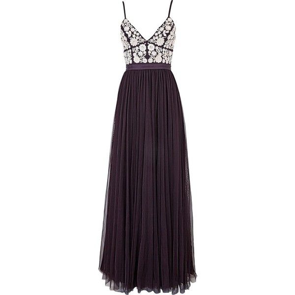 Needle & Thread Embroidered Tulle Maxi Dress ($225) ❤ liked on Polyvore featuring dresses, gowns, long dress, purple evening dresses, sequin dresses, maxi dresses, sequin maxi skirt and purple dress
