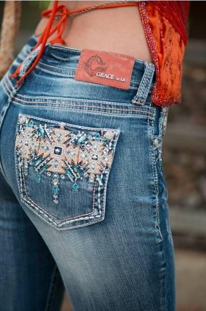Grace In LA Peach Turquoise Tribal Design Easy Fit Jean: Sierra Western Wear - Women's Shoes - http://amzn.to/2gIrqH5