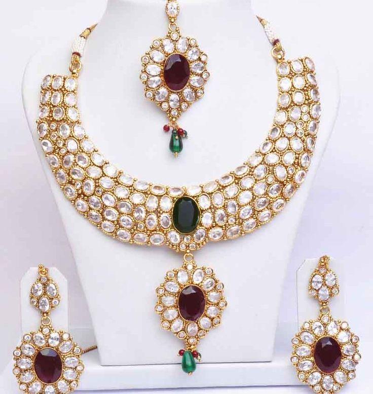 Stone Studded Wedding Necklace Design