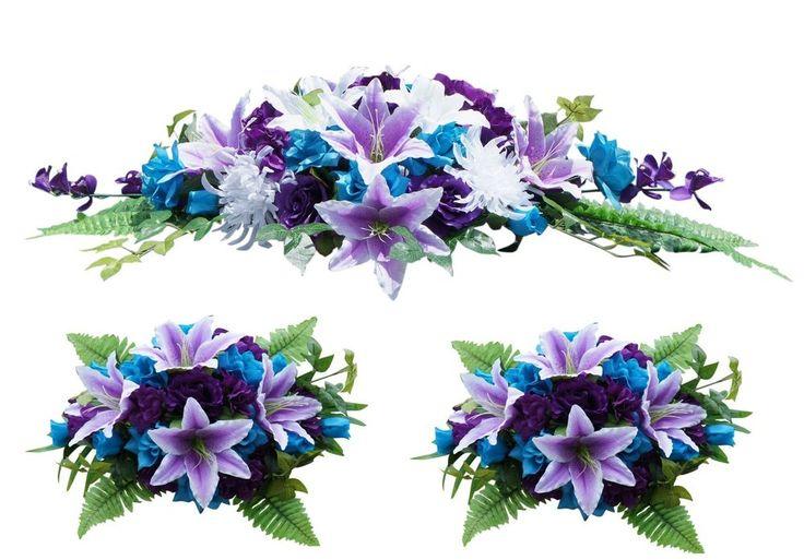 flowers table centerpiece wedding turquoise purple white ebay