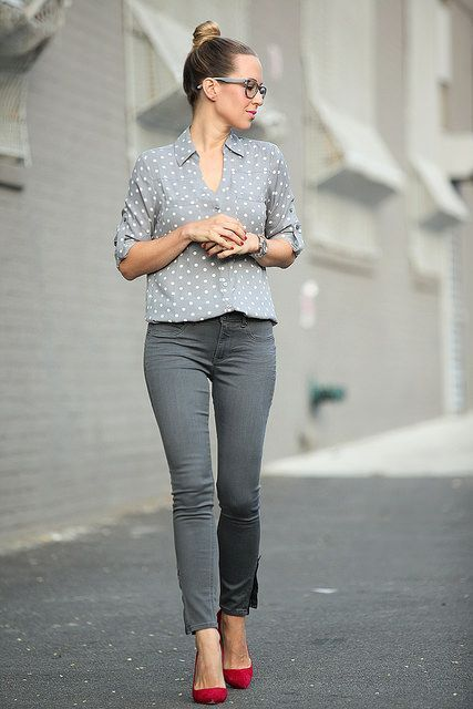 Fashion style Skinny Grey jeans pinterest for woman