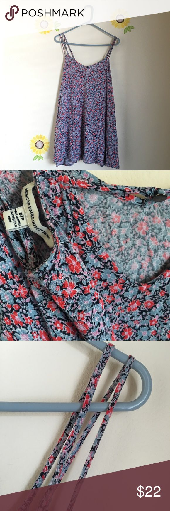 AE American Eagle Floral Swing Dress • Only a few fly away strings around straps - picture included Still in great condition American Eagle Outfitters Dresses Mini