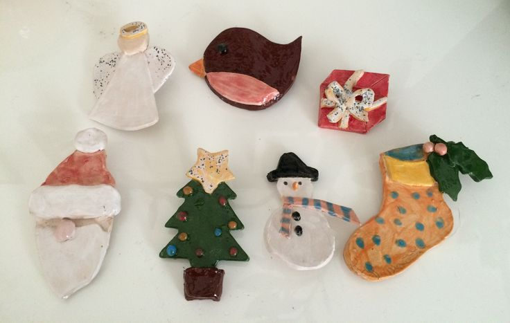 Ceramic Christmas Brooches