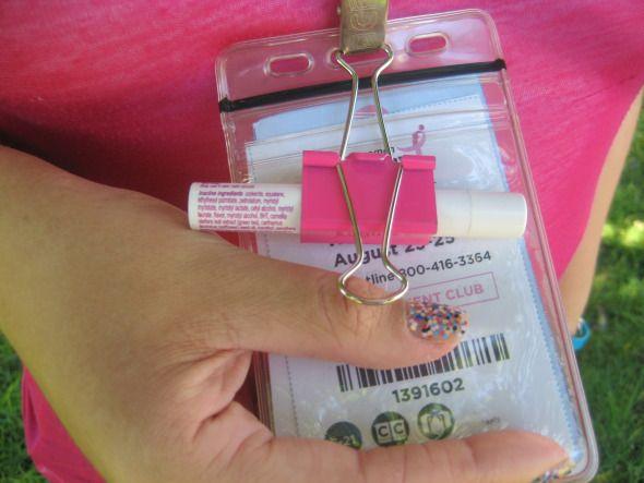 susan g. komen 3-Day breast cancer walks walking hacks binder clip lip balm holder