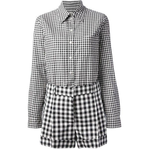 MOSCHINO gingham playsuit ($455) ❤ liked on Polyvore featuring jumpsuits, rompers, gingham, moschino, long-sleeve romper, long sleeve romper, white and black jumpsuit, black and white jumpsuit and playsuit jumpsuit