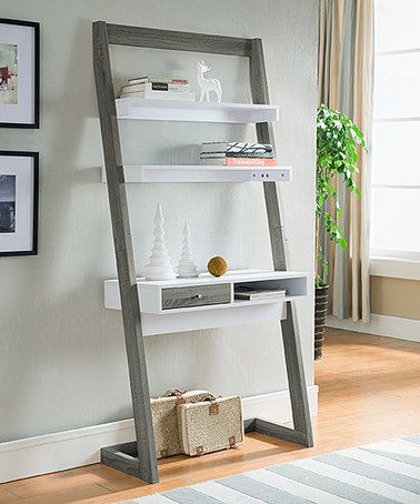 Serendipity Gray Amp White Lexy Two Tone Leaning Desk Leaning Desk Desks And Shelving