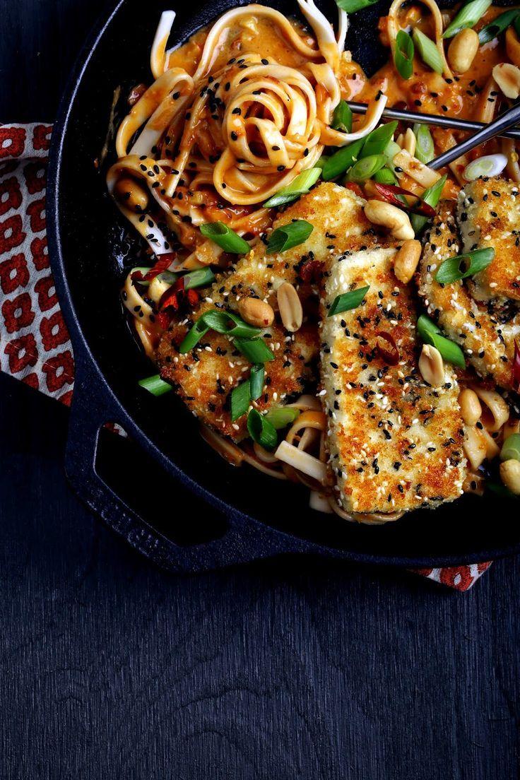 Vegan Fire Noodles With Crispy Tofu / Olives For Dinner
