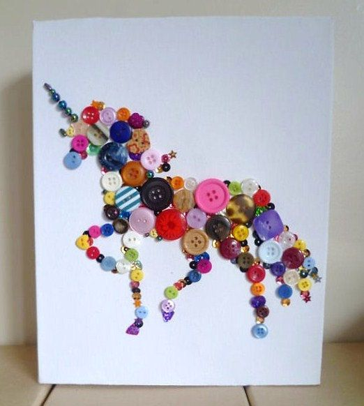 Button unicorn canvas art. Trace an outline of any animal and fill it in with buttons.