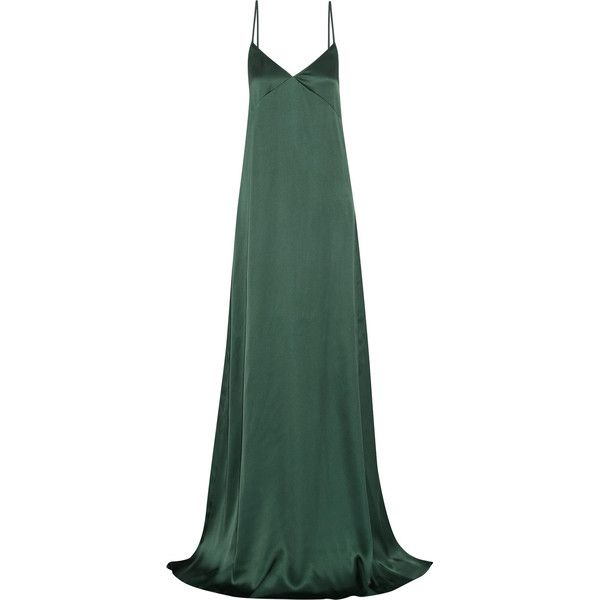 Rochas - Ruffled Silk-satin Gown ($799) ❤ liked on Polyvore featuring dresses, gowns, emerald, green evening gown, long gown, ruffle gown, long ruffle dress and long evening gowns