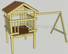 Play tower fort with swing set and slide