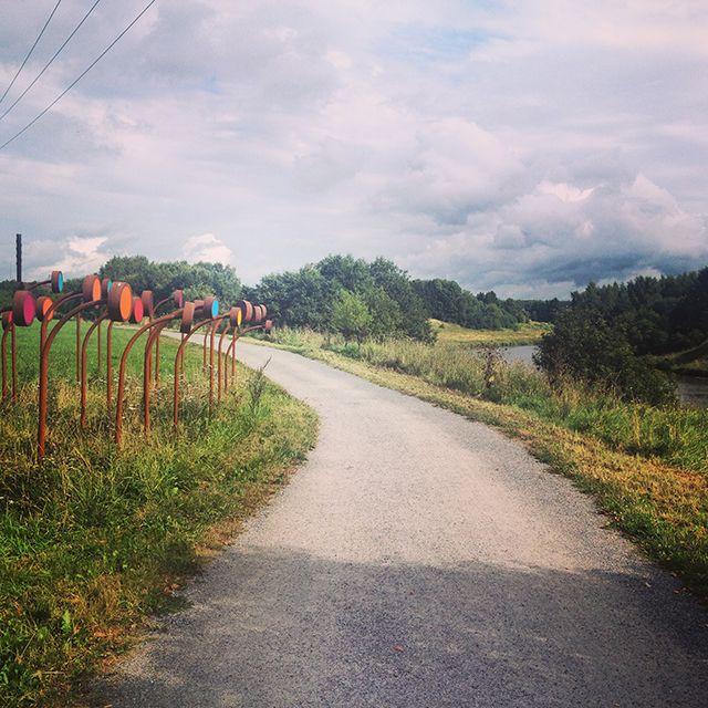 Running and bike path along the Aura River in Turku, Finland