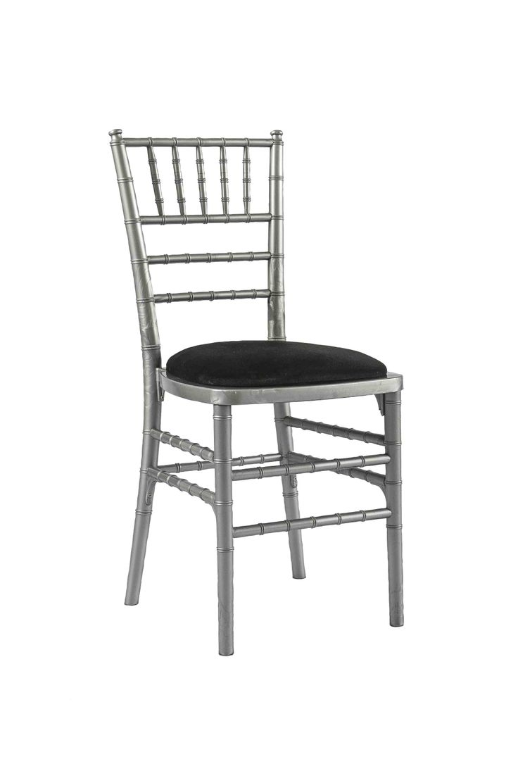 Silver Chivari chair with Black Seat Pad, Is a modern design stackable eco-friendly resin chair, shown here with a Black seat pad but is also available in various coloured seat pads. http://www.eventhireonline.co.uk/chairs/chivari