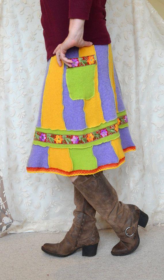 Trui rok vrouwen Upcycled kleding wol Angora groen door MyOlyGirl